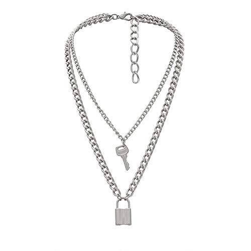 MEISISLEY Collares Mujer Joven Collar Candado Collar único Hija Collares Collar para Mujer con Estilo Hipoalergénico Collar Clásico Collar Collar de la Madre Silver 1