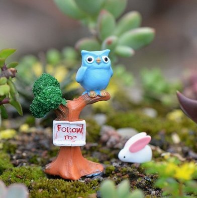 Outflower - Cartel en miniatura con diseño de búho para decoración de jardín, decoración de macetas, peceras, accesorios de resina, bricolaje, decoración de jardín