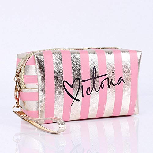Sacs à cosmétiques Mode Cuir Femmes Make Up Bag PVC Pouch Wash Organisateur de Voyage Case 18.5 * 7.5 * 10.5cm-Pink_18.5 * 7.5 * 10.5cm