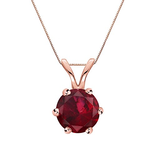 14K Rose Gold 6 prong Basket Ruby Gemstone Solitare Pendant Necklace (1/2 cttw) 18'