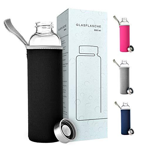 PaWa Glasflasche 550ml Schwarz - BPA Freie Trinkflasche aus Glas - Auslaufsichere Sportflasche für unterwegs - Glas Wasserflasche für Kinder und Erwachsene - Glastrinkflasche mit Gratis Ersatzdichtung