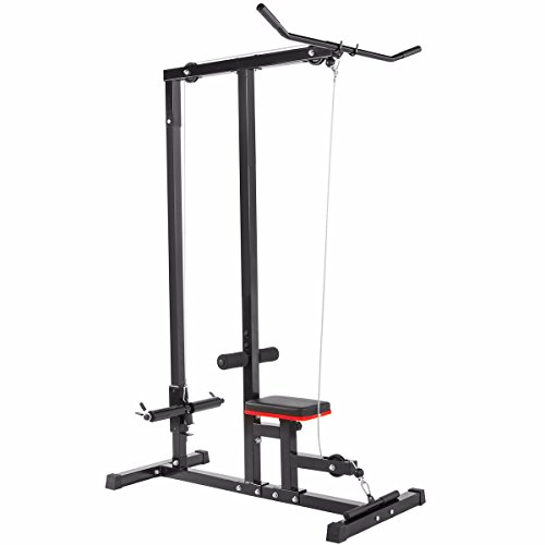 heavy duty XtremepowerUS LAT Machine Indoor Sport Body LAT Pulldown Machine Home Gym Low Bar Cable Fitness Training Weight