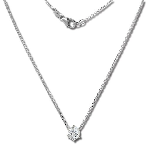 SilberDream collana in zirconi bianchi in argento 925 sterling, collana da 46 cm, GSK20046W.