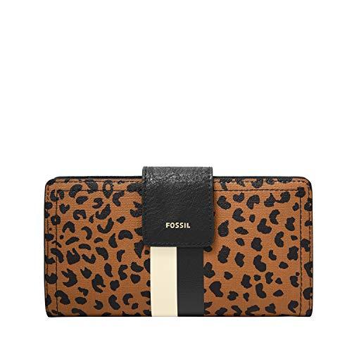 Fossil Women's Logan Faux Leather RFID Blocking Tab Clutch Wallet, Cheetah