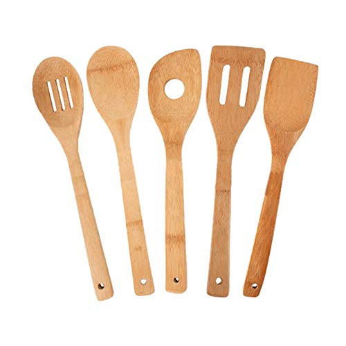 Jeffyo 5 x Piece Bamboo Wooden Kitchen Cooking Utensils Set Tools Spatula Spoon Turner