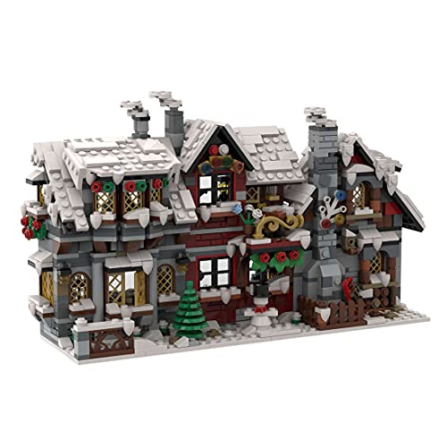 WWEI Casa navideña de invierno, arquitectura, bloques de construcción, construcción modular, 1520 unidades, vista creativa, vista callejera, edificios con abrazaderas, compatible con Lego