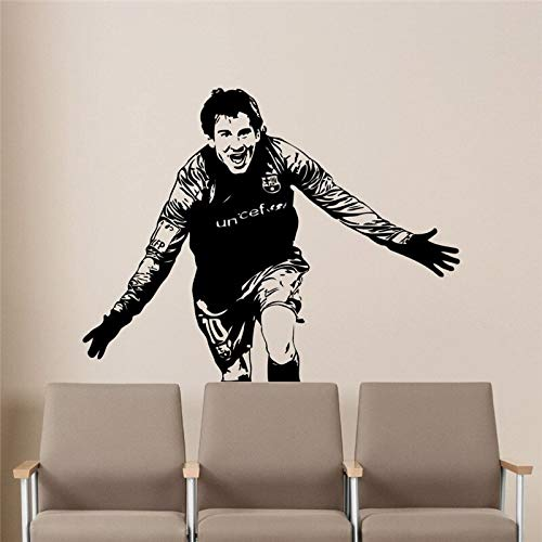 uytrew Lionel Messi Fußball Sport Barcelona FC Super Star Fußballspieler Vinyl Wandaufkleber Aufkleber Schlafzimmer Gym Club Home Deocration Art Wandbild Poster
