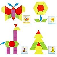 Lewo 230 Pezzi Blocchi di Legno Puzzle di Legno Classico educativo Giocattoli Montessori Set di Tangram per Bambini #1