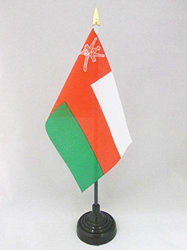 AZ FLAG TISCHFLAGGE Oman 15x10cm goldene splitze - Sultanat Oman TISCHFAHNE 10 x 15 cm - flaggen