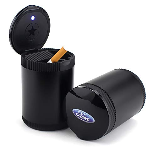 TK-KLZ Detachable Car Cigarette Ashtray with Blue LED Light Indicator Smokeless for Ford Car Cup Holder