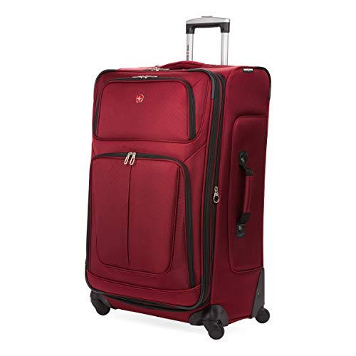 SwissGear Sion Softside Luggage with Spinner Wheels, Burgandy, Checked-Large 29-Inch