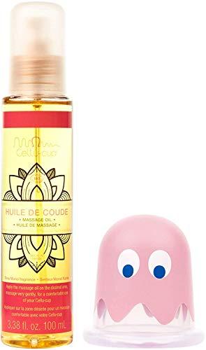 CELLU-CUP - Kit Anti-cellulite - Huile de massage Bio'Huile de coude' et Ventouse de Massage Pacman - Soin minceur pour le corps - jambes, cuisses, fesses, ventre, bras - Élasticité et tonicité