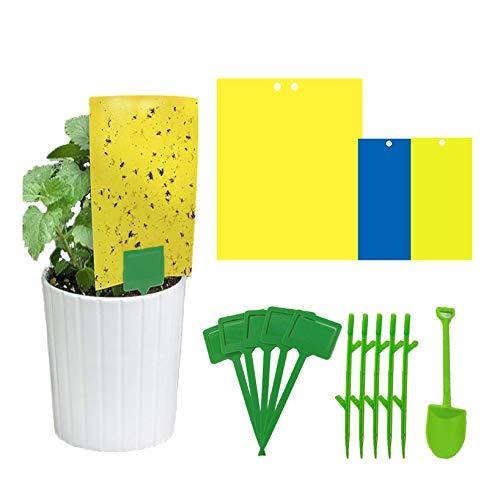 Paquete de 30 trampas adhesivas amarillas, atrapamoscas adhesivas de doble cara para insectos contra hongos, mosquitos, etc. (lazos de torsión incluidos) (30 paquetes)