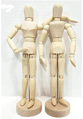 EMI Craft Mannekin Masculino y femeninode 20cm – Muñeco articulado, Marioneta de Madera, Maniquí Flexible .Set 2pcs (France Import)