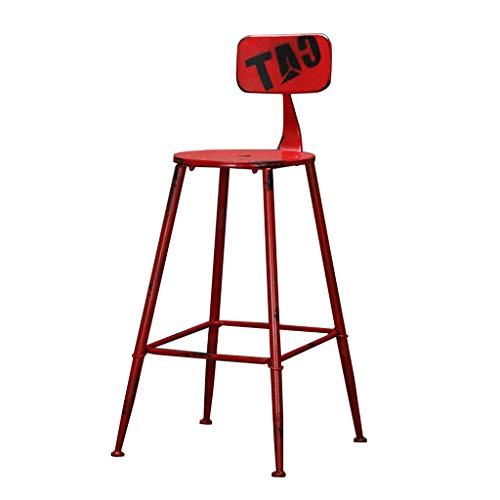 J-HOME Tabouret de bar Tabouret De Bar Vintage Style Industriel Support En Métal Design Cuisine Restaurant Bar Tabouret Haut Chaise Rouge (Hauteur Assise: 71CM) pour la cuisine   Pub   Café