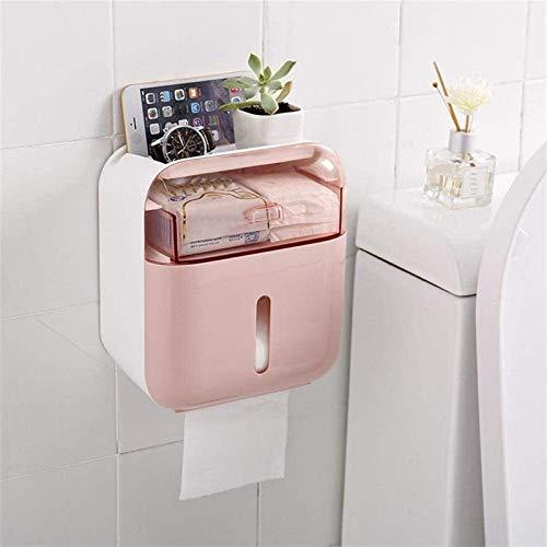 Tenedor de papel higiénico NUEVO Baño A prueba de agua Caja de pañuelos de plástico Tenedor de papel higiénico Caja de almacenamiento montado en la pared Organizador de la servilleta de doble capa sop