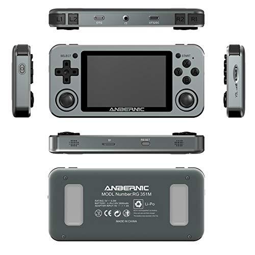 ReallyPow Anbernic RG351M Handheld Arcade Spielkonsole, Retro Spielekonsole mit 2500 Klassischen Spielen, Aluminiumlegierung Schale, Integrierte Tragbare WiFi Handkonsolen - Grau