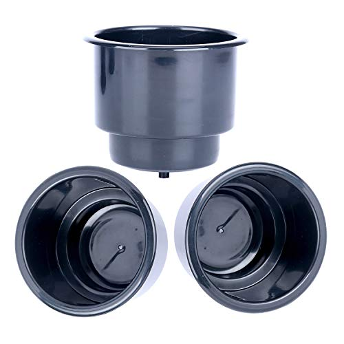 Amarine Made (Set of 3) Black Recessed Plastic Cup Drink Can Holder with Drain for Boat Car Marine Rv - Black