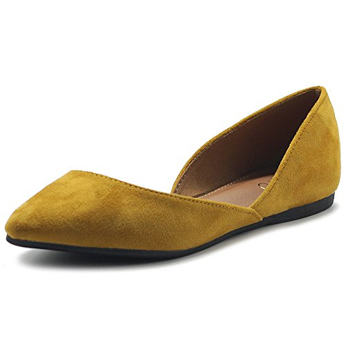 Ollio Damen Schuhe Faux Wildleder Slip On Comfort Light Pointed Toe Ballett Flach, Gelb (senffarben), 39 EU