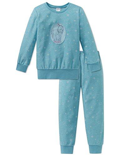 Schiesser Mädchen Einhorn Md Anzug Lang Zweiteiliger Schlafanzug, Blau (Türkis 807), 104