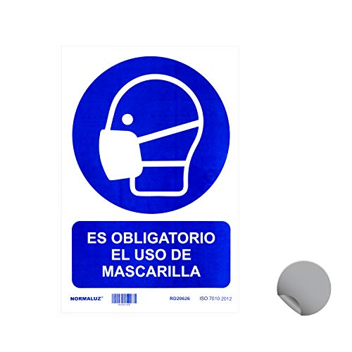 Normaluz RD20626 - Señal Adhesiva Es Obligatorio El Uso de Mascarilla Adhesivo de Vinilo 20X30 cm