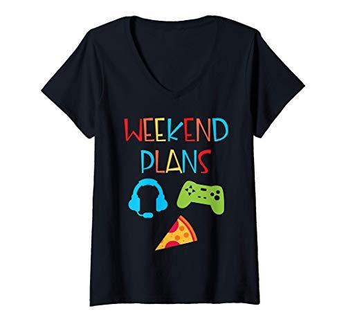 Damen Funny Video Gamer Weekend Plan Pizza Gamepad Fun For Kids T-Shirt mit V-Ausschnitt