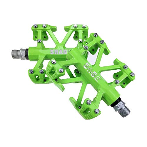 Teerwere Bike Pedals Bike Magnesium Alloy Mountain Bike Pedals Bicycle Pedals Road Bicycle Pedals Lightweight Bicycle Pedals (Color : Green, Size : One Size)
