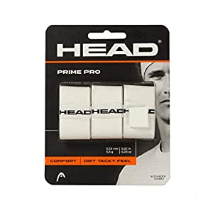 HEAD Prime Pro Racquet Overgrip - Tennis Racket Grip Tape - 3-Pack, White
