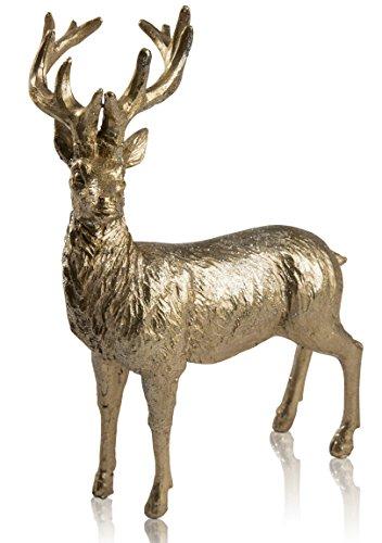 CHICCIE Renne en Or avec Paillettes – Différentes Tailles – Figurine décorative de Noël, Plastique, Or, (HxBxT) ca. 25cm x 17cm x 11cm