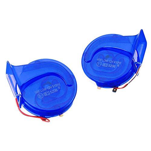 GNY Bocina eléctrica Par 5V 110dB Universal Blue Topnotch Air Tacky Steel Cuerno de Caracol para Coche Van Motocicleta