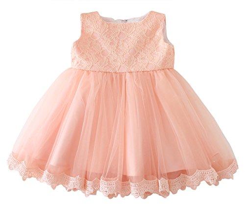 Happy Cherry Baby Mädchen Kleid Dacron Blumenmuster Brautkleid Ärmellos Ballkleid Hochzeit Festzug Brautjungfer Baby Foraml Dress Größe 3M - Rosa