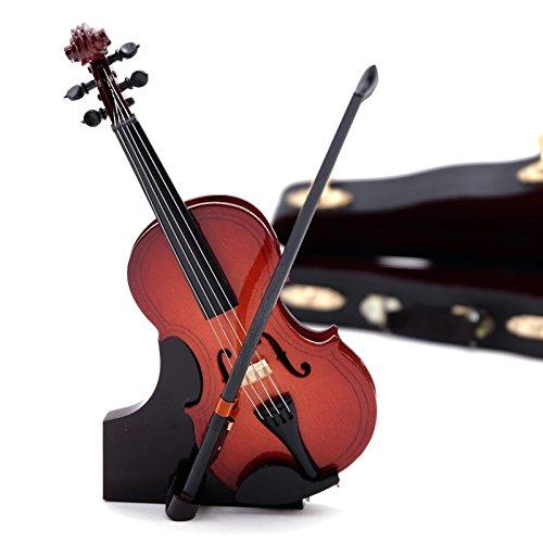 DESIGN DELIGHTS DEKO Instrument Geige | 15 cm, Holz, mit Geigenkasten | Musikinstrumente, Miniaturgeige
