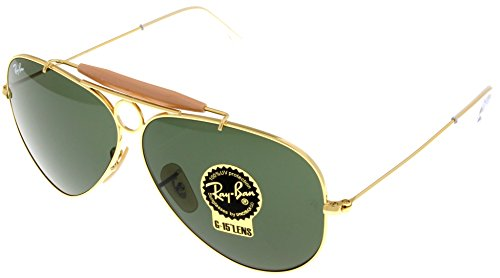 Ray Ban Sunglasses Shooter Aviator Unisex Browbar Enhanced RB3138 001 58