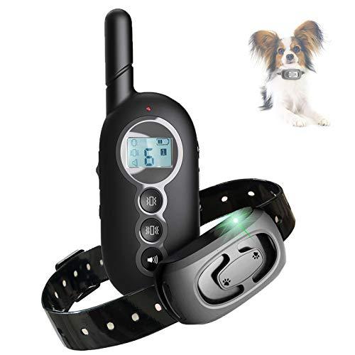 Collare Addestramento Cani con 300m Telecomando, Collare Antiabbaio Cane Ricaricabile con Vibrazioni e Suono, Impermeabile