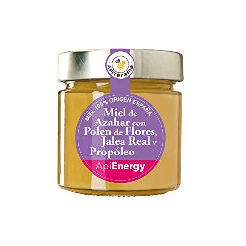 Apiterapia - Miel ApiEnergy - Miel cremosa de Azahar con Polen de Flores, Jalea Real y Propóleo - Miel Origen España - 300 g