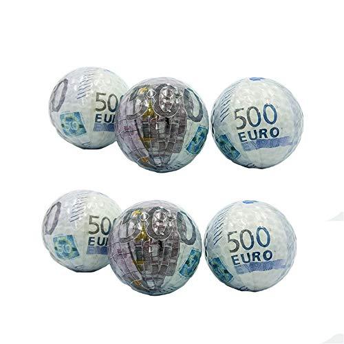 Regalo Doble Capa Golf Billete de impresión Patrón Golf Color Bola de Cristal Transparente para la Nieve Estadio Wen Personalidad Pelotas de Golf, Fácil de Usar y Duradero