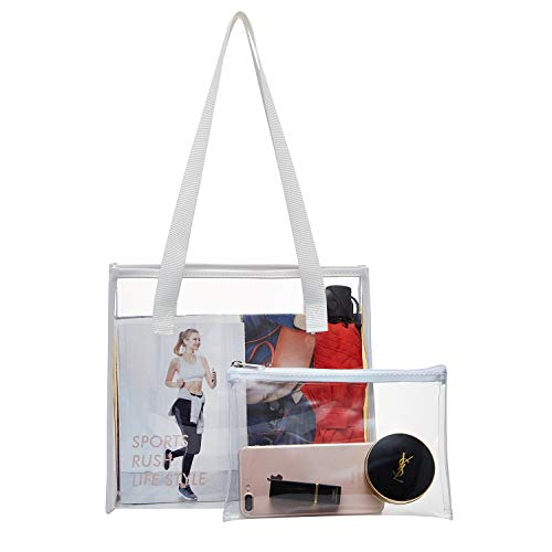【Stadium Approved】- Clear Tote bags meets tournament guidelines and suitable for workplaces that require clear bags 【Sturdy and Convenient】- Our clear handbag made of non-toxic and waterproof PVC plastic material. Clear tote bag that lets you quickly...