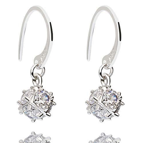 Lucy's Sterling Silver Round Cut CZ Cubic Zirconia Diamond, Hook Dangle Cube Earrings