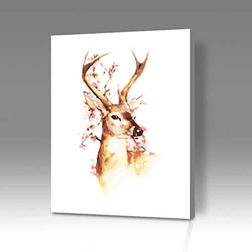 thfff Fai da Te Digitale Pittura A Olio Alce Modello Bellissimo Paesaggio Animale Th350 Fiore Cervo 1