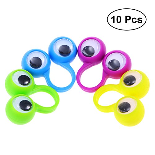 TOYMYTOY 10 piezas simpáticos muñecos con dedos grandes ojos anillo para marionetas regalo para niños regalo (Color aleatorio)