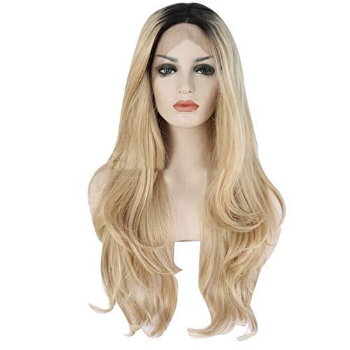 JALAL Femmes Ombre Blonde Front Lace Natural Wavy Long Wigs Black Roots 24 Pouces