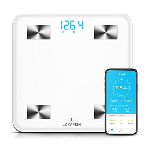 Loyafish Smart Scales Digital Weight and Body Fat - Bluetooth Scales for Body Weight with iOS Android Smartphone APP for Water, BMI, BMR, Muscle Mass Tracks 13 Key Body Compositions, Unlimited Users