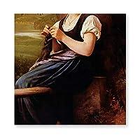 INOV ウィリアム・アドルフ・ブグロー著編み物 女性 アートパネル 40x40cm キャンバス絵画 玄関(フレーム・木枠付きの完成品) アートフレーム フレーム