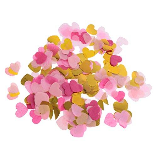 IPOTCH 1400 Piezas Confeti en Forma de Corazón Papel de Seda Biodegradable Casamiento para Mesa de Color Dorado
