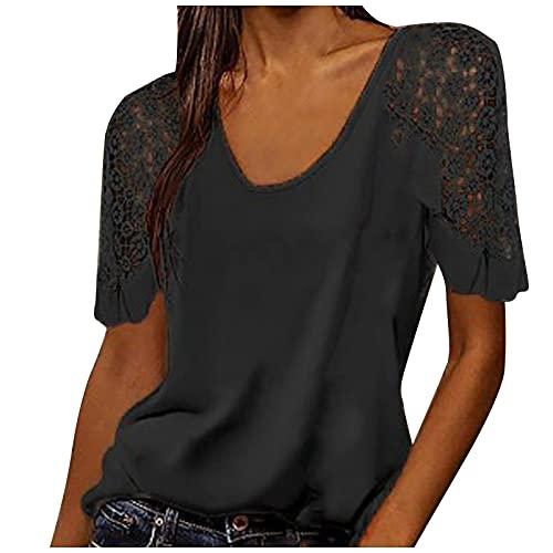 Damen Mode Spitze Kurzarm T-Shirt O-Ausschnitt Bluse Casual Ladies Tops