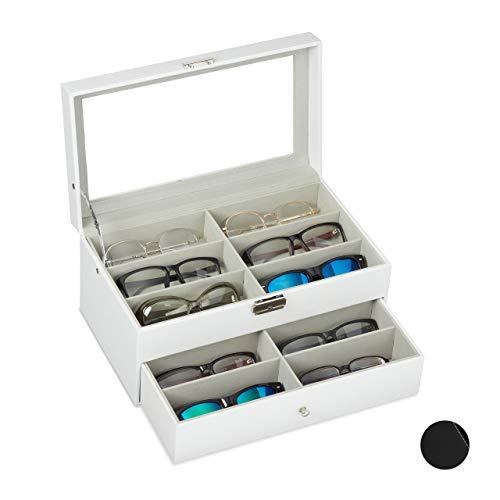 Relaxdays Brillenbox 12 Brillen, Aufbewahrung Sonnenbrillen, HBT: 15,5 x 33,5 x 19,5 cm, Kunstleder Brillenkoffer, weiß