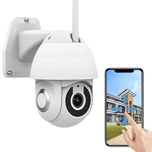 Cámara IP WiFi de Vigilancia Exterior CCTV PTZ Cámara HD 1080P Alarma de Detección de Movimiento Pan360°/Tilt110°,Audio Bidireccional,Visión Nocturna,Impermeable,Control App,iOS/Android 【Cámara+32G】