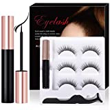 Magnetic Eyeliner With Magnetic Eyelashes Kit, 3 Pair Reusable False Lashes and Waterproof Magnetic Liquid Eyeliner Set (With Tweezers) (NATURE-1)