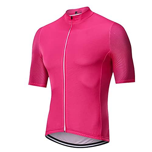 LSZ Maglie da Ciclismo per Uomo Manica Corta Traspirante Maglia da Bici con Cerniera Intera Top da Ciclismo Abbigliamento Sportivo di Squadra (Color : Rosa, Taglia : XXX-Large)
