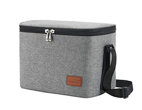Aosbos Kühltasche Klein Leicht Lunch Tasche Isoliertasche Lunchbag zur Arbeit Schule Wasserdicht Reissverschluss Grau